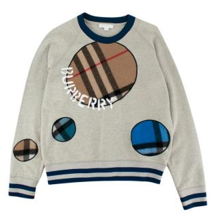 Burberry Kids Grey & Navy Nova Patch Jumper