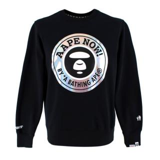 Aape by A Bathing Ape Black Cotton Blend Graphic Jumper