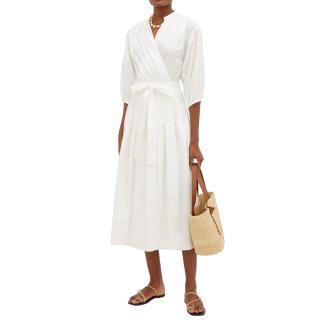 Three Graces London White Cotton-Poplin Delmare Wrap Dress