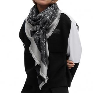 Louis Vuitton Black Silk & Wool Monogram Denim Shawl