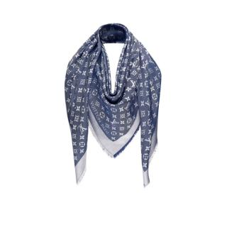 Louis Vuitton Blue Silk & Wool Monogram Denim Shawl