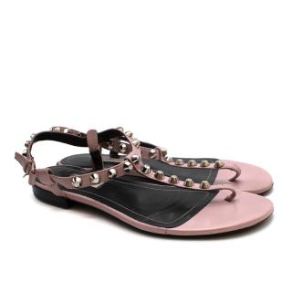 Balenciaga Pink Leather Studded Flat Sandals