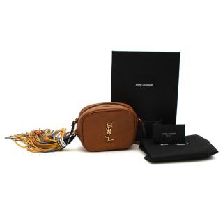 Saint Laurent Brown Leather YSL Tassel Blogger Shoulder Bag