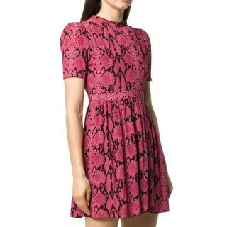 Ba&Sh Pink Snakeskin Print Cascade Dress