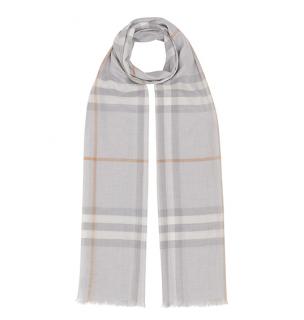 Burberry Light Grey Giant Check Gauze scarf