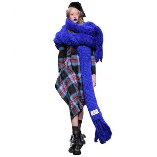 Charles Jeffrey Loverboy Runway Blue Heavyweight Knit Wool Blend Scarf