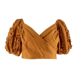 C/MEO Collective Ochre Linen Blend Wrap Puff Sleeves Crop Top