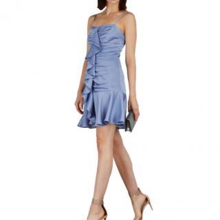 Keepsake Light Blue Satin Ruffled Mini Dress