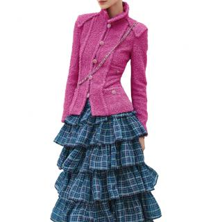 Chanel Pink Wool Blend Boucle Tweed Tailored Jacket