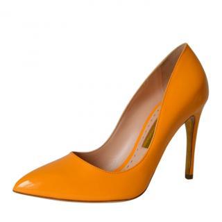 Rupert Sanderson Orange Patent Leather Pumps
