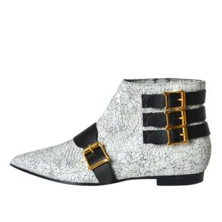 Rupert Sanderson White Crackled Leather Ankle Boots