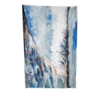 Chanel Blue Brushstroke Print Silk & Cashmere Stole