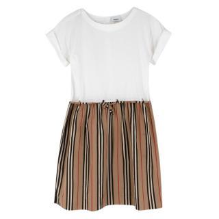 Burberry Girls Cotton Short Sleeve Striped Dress