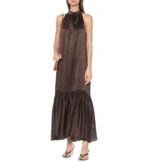 Asceno Tie Neck Ibiza Silk Maxi Dress