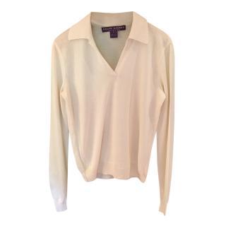 Ralph Lauren Collection Silk & Cashmere Polo Top