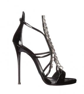 Giuseppe Zanotti Black Patent Crystal Belle Sandals