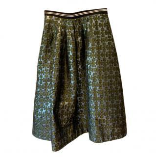 Markus Lupfer Blue & Green Jacquard Skirt