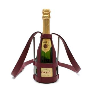 Connolly Red Leather Small Champagne Bottle Crossbody Carrier