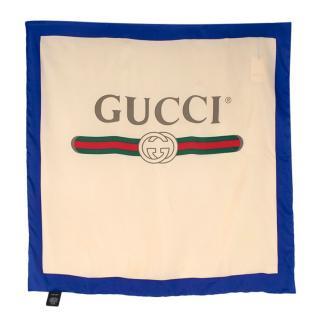Gucci Ivory/Blue Logo Print Silk Square Scarf