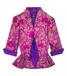 Etro Silk Blend Jacquard Structured Jacket