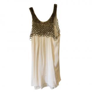 Amanda Wakeley Chain Detailed White Silk Dress