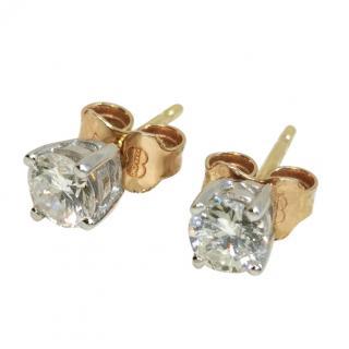 Bespoke 18ct Gold Diamond Solitaire Earrings