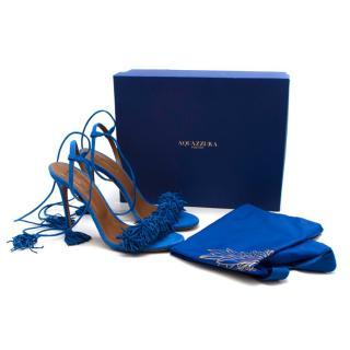 Aquazzura Blue Suede Wild Thing Tassel Ankle Wrap Sandals