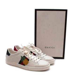 Gucci White Leather Pineapple & Ladybug Ace Trainers