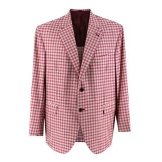Donato Liguori Pink Vichy Cashmere Blend Jacket