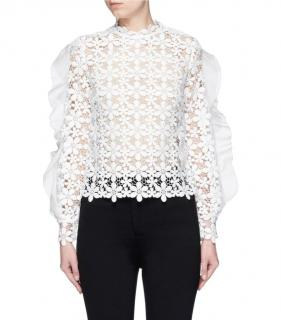 Self Portrait Daisy Lace Embroidered High Neck Top