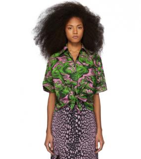 McQ Alexander McQueen Pink & Green Knot Front Short Sleeve Shirt