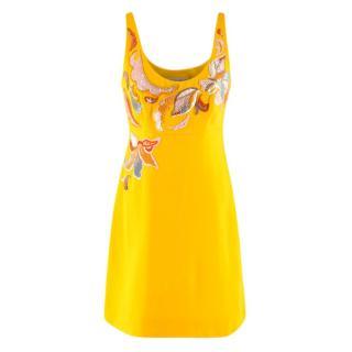 Emilio Pucci Yellow Scoop Neck Embroidered Mini Dress