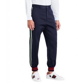 Gucci Men's Cotton Twill Velvet Striped Pants