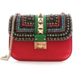 Valentino Multicolored Beaded Embellished Glam Lock Shoulder Bag