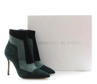 Manolo Blahnik Green Suede Colourblock Ankle Boots