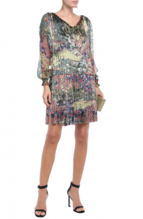 Missoni Floral Print Fringed Tiered Mini Dress as worn by Rihanna