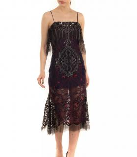Jonathan Simkhai Black Sheer Lace Embroidered Midi Dress