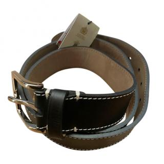 Burberry Black Leather Contrast Stitch Belt - Size 95