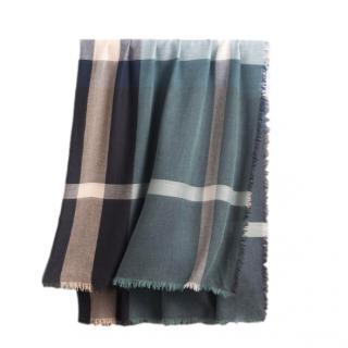 Burberry Slate Blue Wool & Silk Scarf