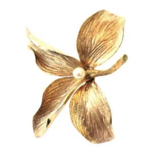 Christian Dior Vintage Gold Plated Flower Brooch