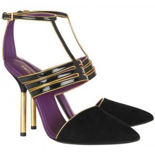 Emilio Pucci black & gold suede/patent leather pumps