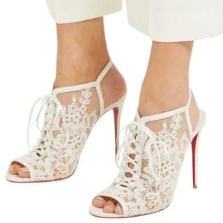 Christian Louboutin white lace heeled sandals