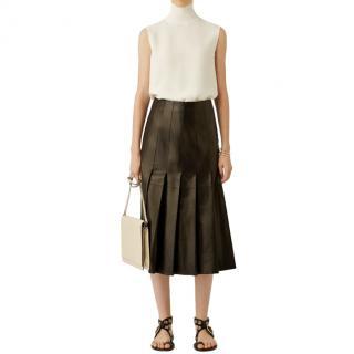 Joseph pleated black leather midi skirt