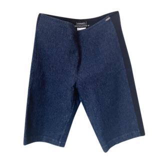 Chanel blue/silver sheen denim long shorts