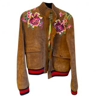 Gucci embellished tan suede LOVED bomber jacket