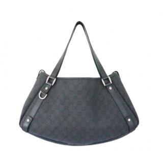 Gucci Black GG Canvas Leather Trim Tote Bag