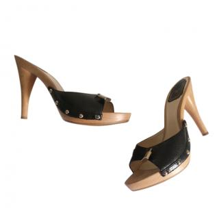 Dior Vintage Leather Wooden Mules