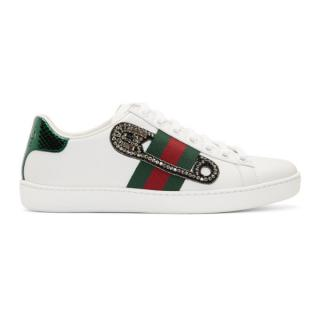Gucci Safety Pin Embroidered Ace Sneakers