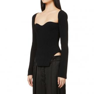 Khaite Black Ribbed Knit Maddy Sweetheart-Neckline Top