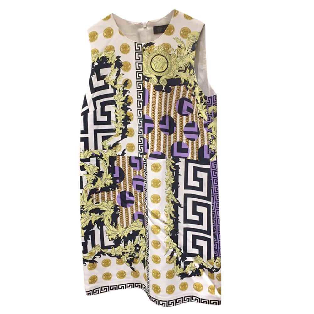 Versace White & Green Medusa Multi-Print Shift Dress